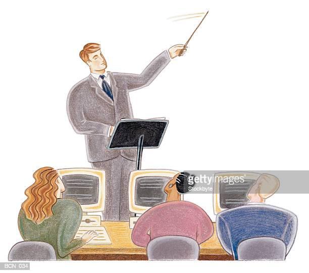 ilustraciones, imágenes clip art, dibujos animados e iconos de stock de man conducting three people working on computers - director de orquesta