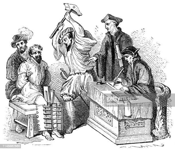 man confessing under torture by boot - 16th century - medieval shoes stock illustrations