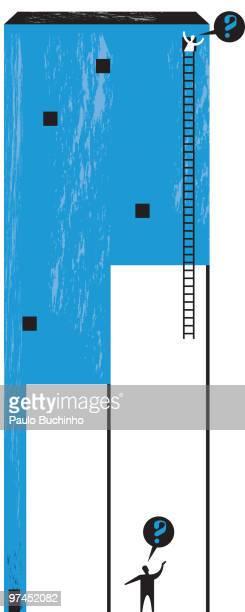 ilustrações de stock, clip art, desenhos animados e ícones de a man confused about how to reach another man in a tall building with half a ladder - buchinho