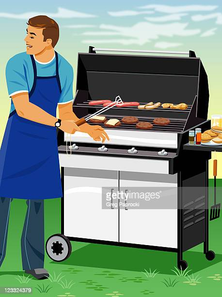 Man cooking food on barbecue grill