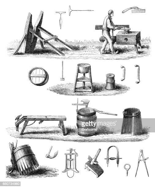man cooper manufacturing wooden barrel 1866 - brewery stock illustrations, clip art, cartoons, & icons