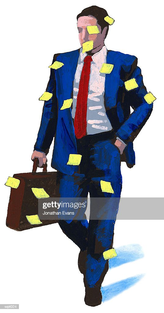 Man Covered with Reminders : Stockillustraties