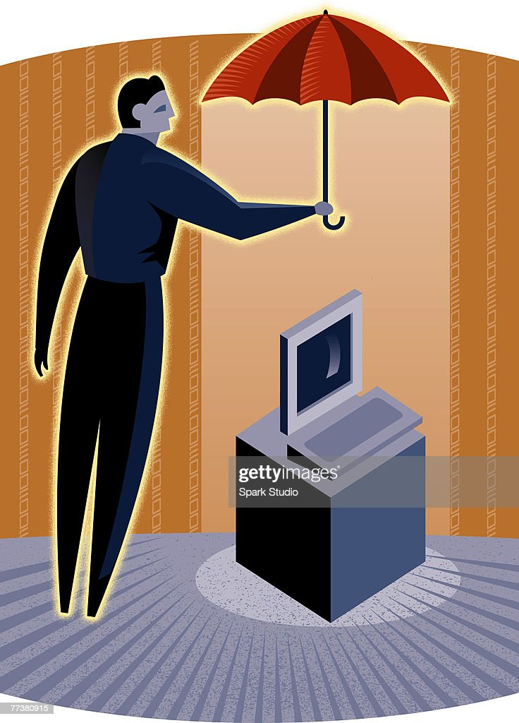 A man covering a computer with an umbrella : Illustration