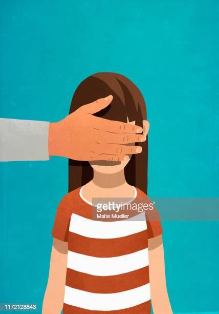 man covering girls eyes - touching stock illustrations