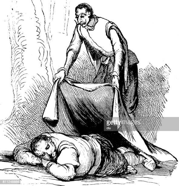 man covers a sleeping man on ground with a blanket - blanket stock illustrations, clip art, cartoons, & icons