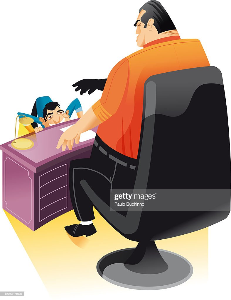 A man cowering in front of his boss : stock illustration