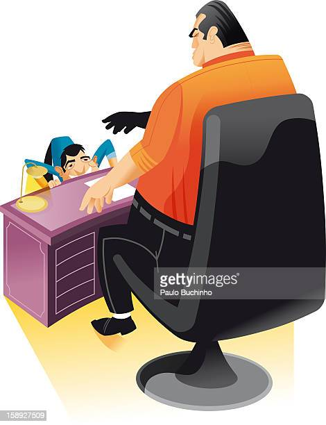 a man cowering in front of his boss - office politics stock illustrations, clip art, cartoons, & icons
