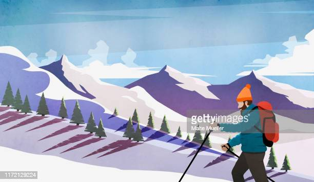 man cross-country skiing among snowy mountains - journey stock illustrations
