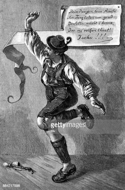 man dancing bavarian dance: schuhplattler - bavaria stock illustrations