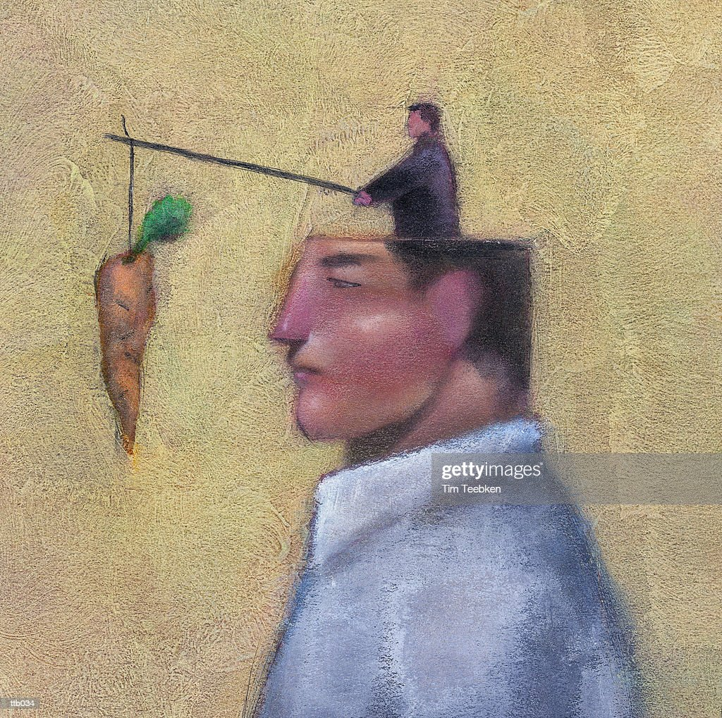 Man Dangling Carrot : Stock Illustration