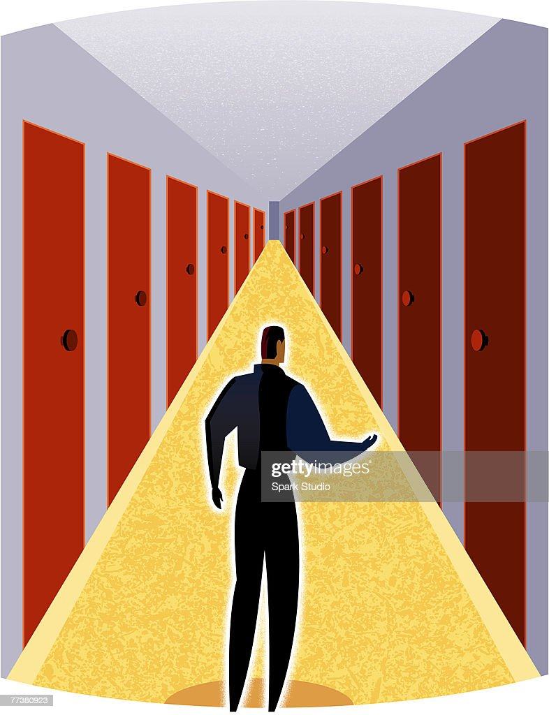 A man deciding which door to go through : Stock-Illustration