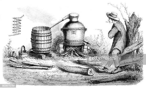 man distilling alcohol in rural scene 1865 - vodka drink stock illustrations, clip art, cartoons, & icons