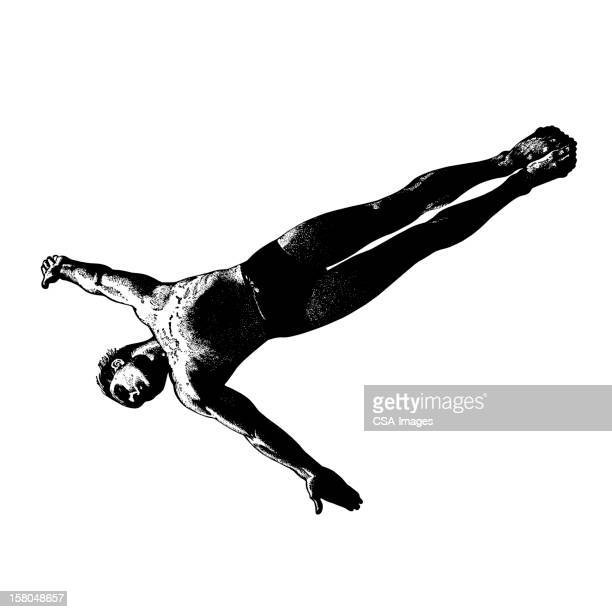 man diving - young men in speedos stock illustrations