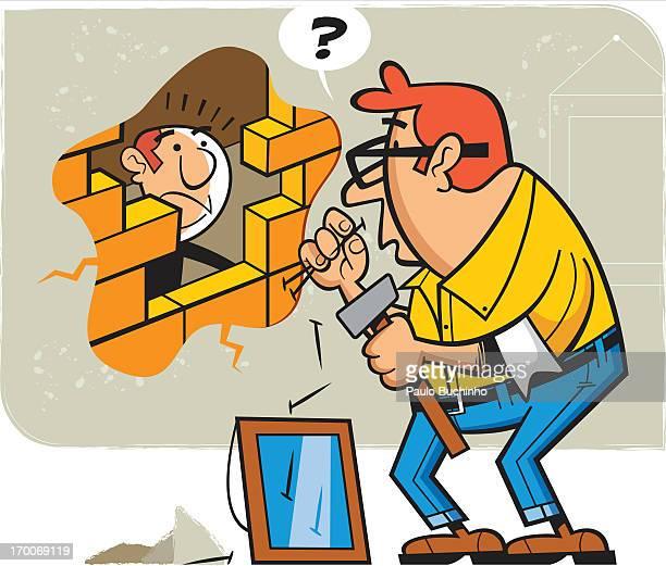 ilustrações de stock, clip art, desenhos animados e ícones de a man doing home repairs - buchinho