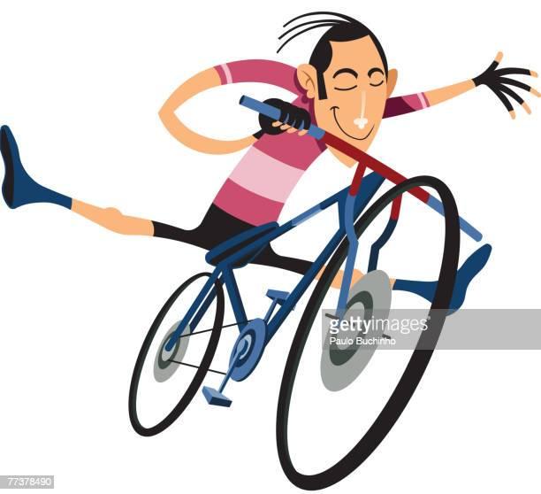 ilustrações de stock, clip art, desenhos animados e ícones de a man doing stunts on a bicycle - buchinho