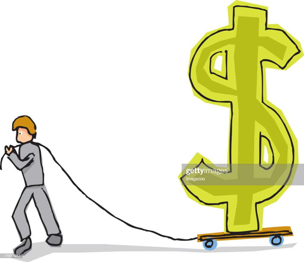 man dragging a dollar sign : Illustration