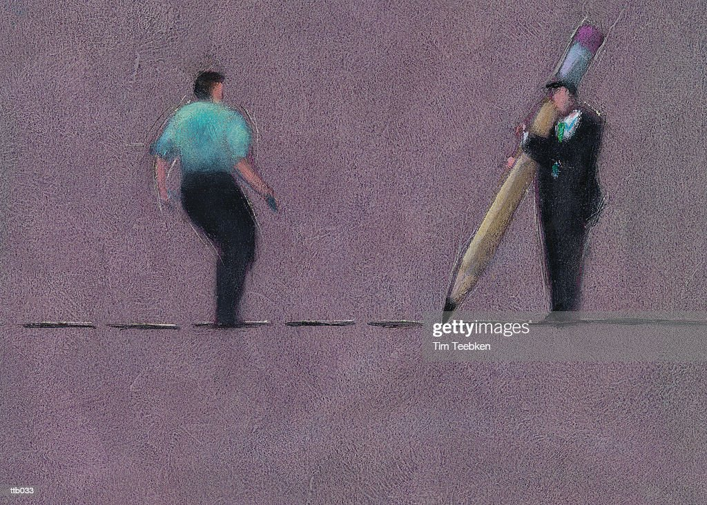 Man Drawing Dotted Line : Stock Illustration