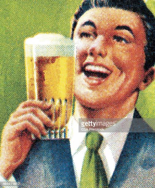 man drinking a beer - stag stock illustrations
