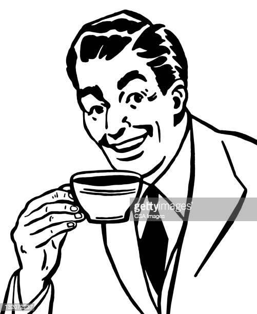 Man 飲むコーヒーから。