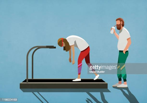 man drinking smoothie, watching tired woman on treadmill - food and drink stock illustrations