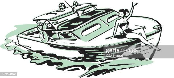 man driving boat with woman in bikini sitting on front - nautical vessel stock illustrations