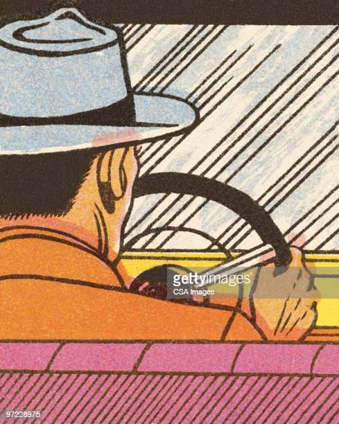illustrazioni stock, clip art, cartoni animati e icone di tendenza di man driving - fumetto creazione artistica