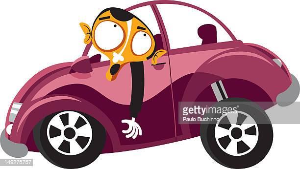 ilustrações de stock, clip art, desenhos animados e ícones de a man driving in his car - buchinho
