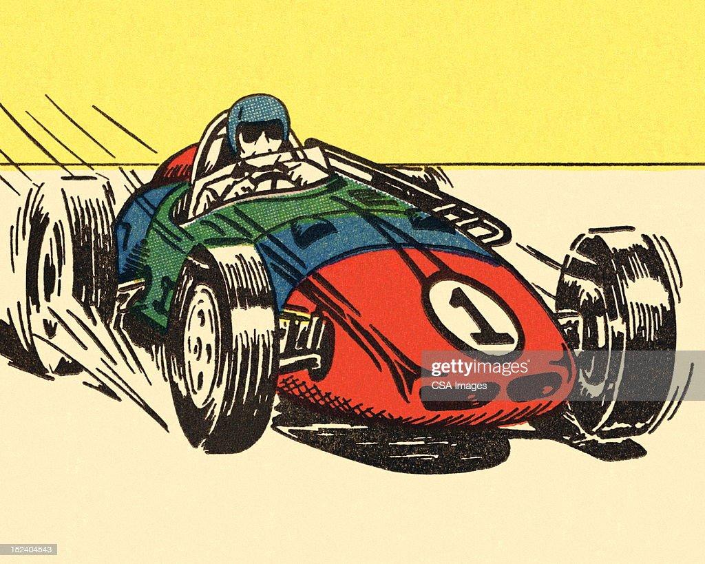 Man Driving Racecar : Stock Illustration