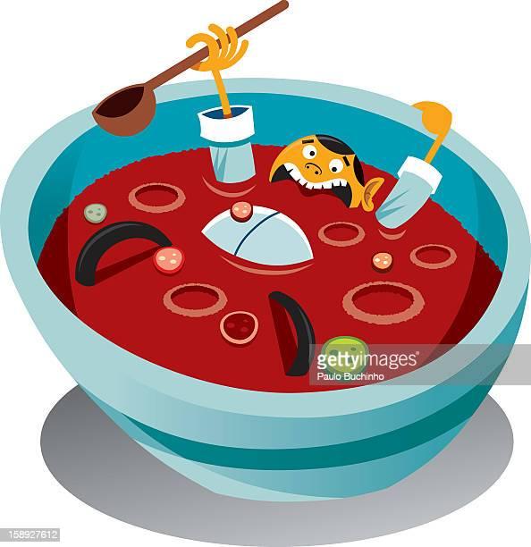 ilustrações de stock, clip art, desenhos animados e ícones de a man drowning in a bowl of soup - buchinho