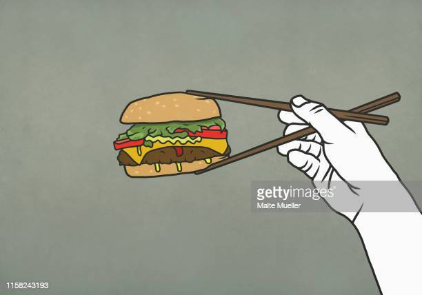 man eating cheeseburger with chopsticks - out of context点のイラスト素材/クリップアート素材/マンガ素材/アイコン素材