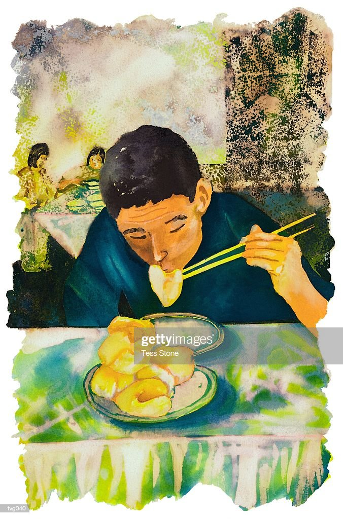 Man Eating Dumplings : Stock Illustration