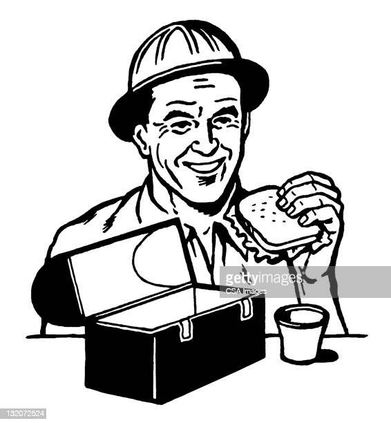 man eating lunch - lunch break stock illustrations, clip art, cartoons, & icons