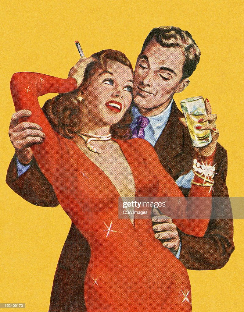 Man Embracing Woman in Red Dress : stock illustration