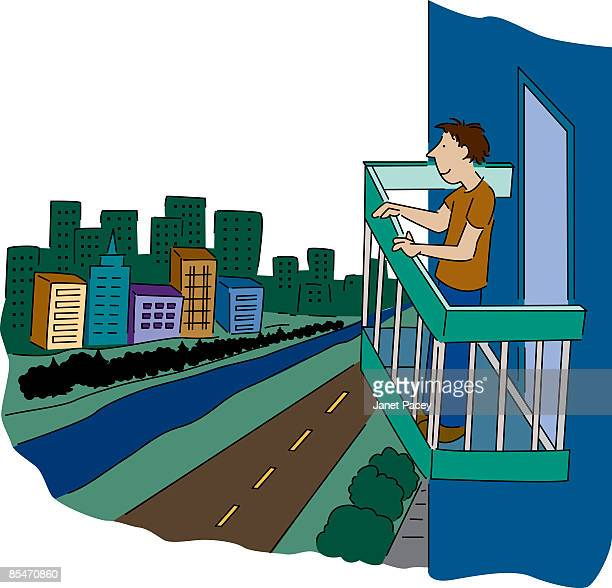 Stand balcony cartoon stock illustrations and cartoons for Balcony cartoon