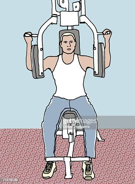 A man exercising at the gym