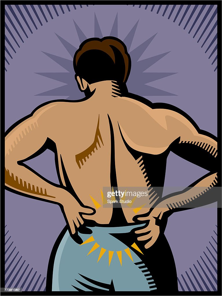 A man experiencing lower back pain : Illustration