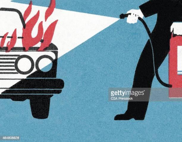 Hombre en un coche de extinción de incendios