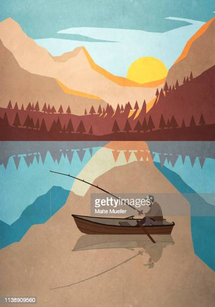 man fishing in boat on tranquil mountain lake - touching stock illustrations