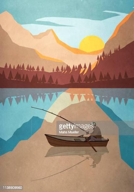 man fishing in boat on tranquil mountain lake - idyllic stock illustrations