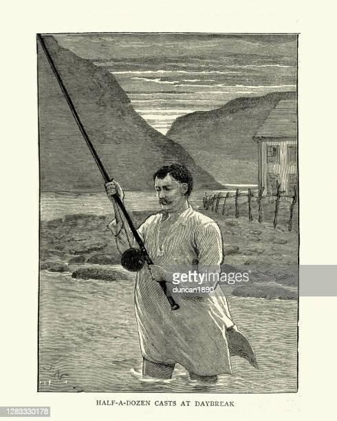 man fishing in his nightshirt at daybreak, victorian 19th century - graphic print stock illustrations