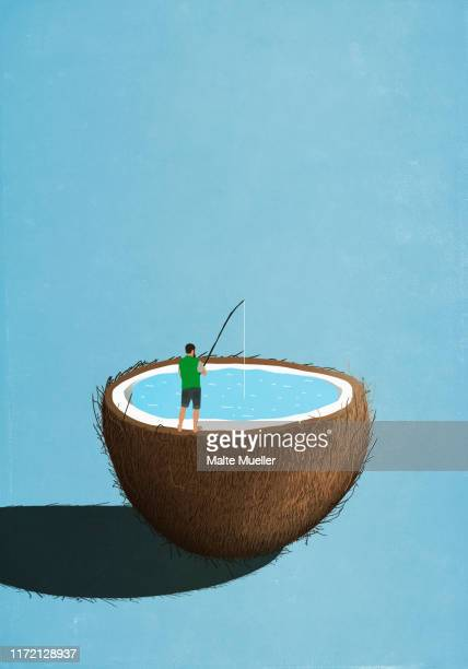 man fishing inside coconut - food and drink stock illustrations