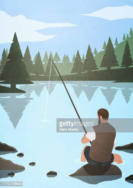man fishing on rock in lake - outdoors stock illustrations