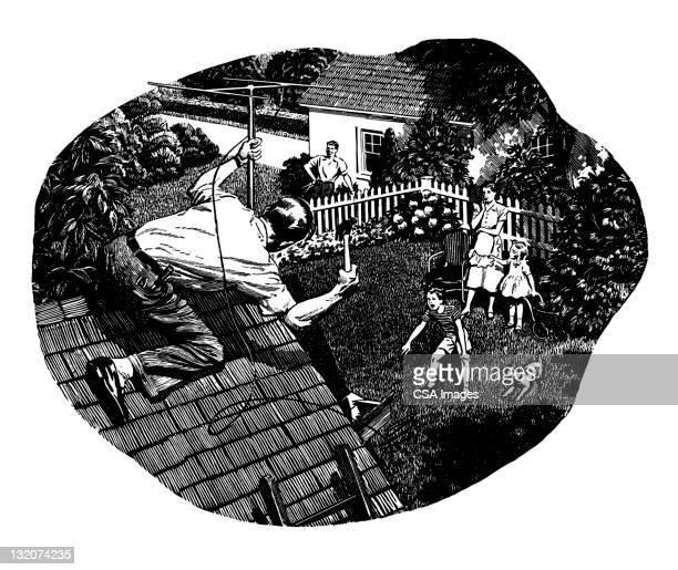 man fixing tv antenna - antenna aerial stock illustrations, clip art, cartoons, & icons