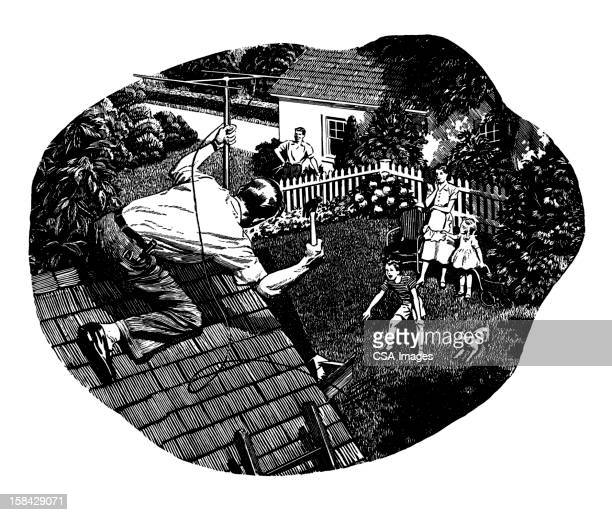 man fixing tv antenna - television aerial stock illustrations, clip art, cartoons, & icons