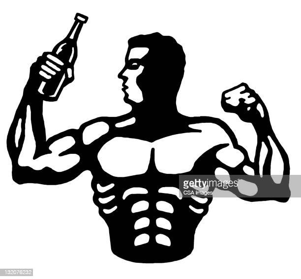 Man Flexing and Holding Bottle