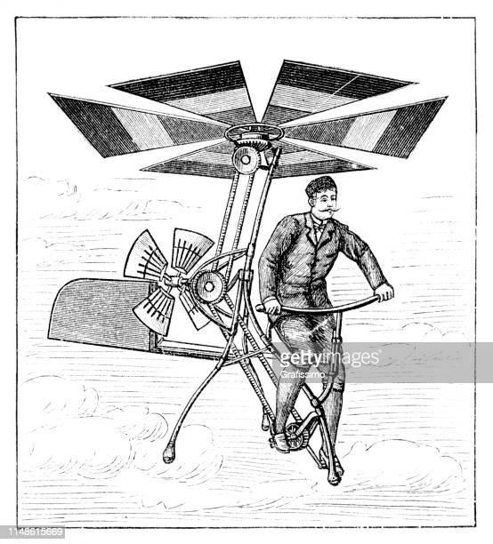 ilustrações de stock, clip art, desenhos animados e ícones de man flying a aerial velocipede from delprad 1894 - antiguidade