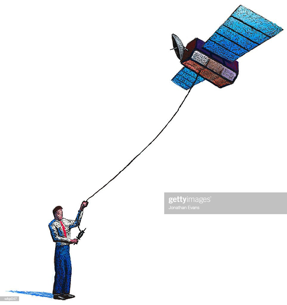 Man Flying Satellite Kite : Stock Illustration