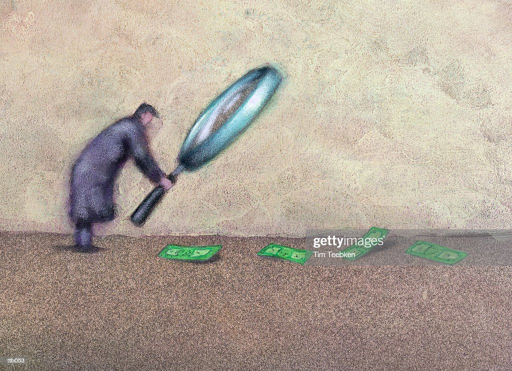 Man Following Trail of Money : Stockillustraties