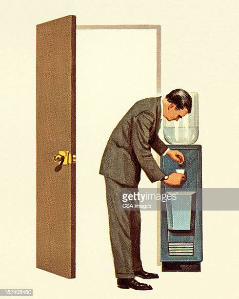 man getting drink from water cooler - door frame stock illustrations, clip art, cartoons, & icons