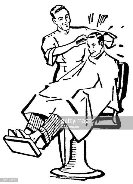 ilustrações de stock, clip art, desenhos animados e ícones de man getting haircut - cortar cabelo